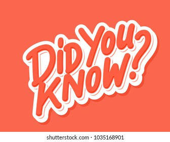 Did you know? Vector lettering..
