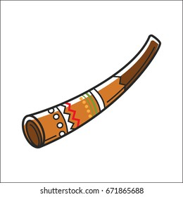 Didgeridoo musical instrument isolated on white vector illustration