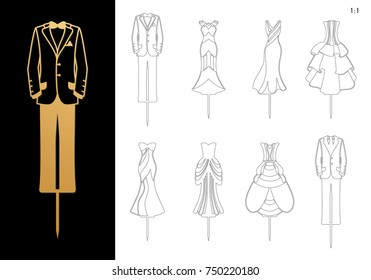 Die cut Bride and Groom wedding Cake Toppers 7.89'' H. Cutout elegant Dresses and Masculine suits silhouettes. Laser cut table sign is suitable for way to top of cake in Engagement, Bridal shower.