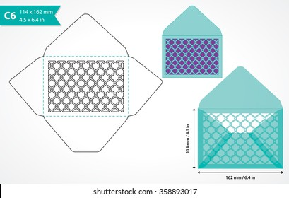 Die cut c6 envelope template with cutout ornamental pattern. Wedding invitation envelope mock up. Laser cut invitation envelope.