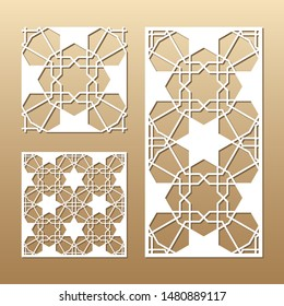 Die cut card. Laser cut vector panel. Cutout silhouette with geometric seamless pattern. A picture suitable for printing, engraving, laser cutting paper, wood, metal, stencil manufacturing.