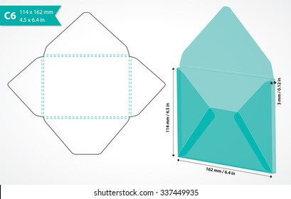 Die cut envelope template. Vector C6 envelope template for cutting machine. Cutout folding envelope layout.