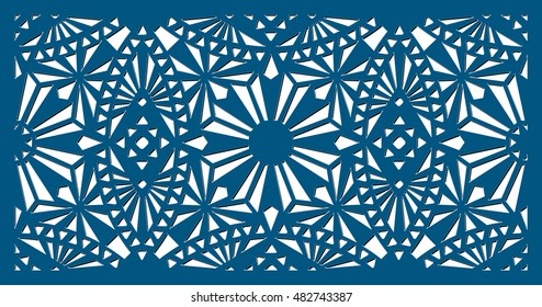 Die cut ornamental panel. May be user for laser cutting. Laser cut card. Silhouette pattern. Cutout paperwork. Filigree decorative pattern.