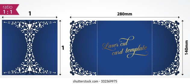 Die cut panel card. May be user for laser cutting. Lazer cut card. Cutout paperwork. Wedding invitation card template for cutting machines. Cutout two panel folder for a wedding invitation card.