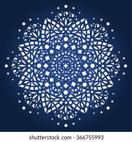 Die cut paper card with cutout mandala ornament. May be used for laser cutting or cutting machines. Laser cut vector mandala pattern. Stencil mandala. Rangoli template.