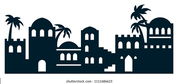 Die cut silhouette. Laser cutting template. Vector illustration of city in the desert, bethlehem, biblical city. Cutout black and white art. Picture suitable for engraving, cutting wood, metal, paper.