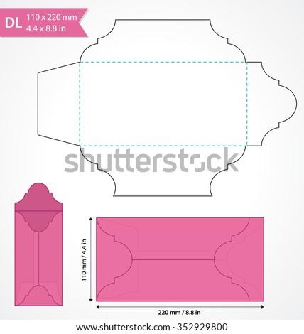die cut vector envelope template standard stock vector royalty free