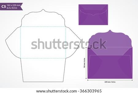 die cut wedding envelope template original stock vector royalty
