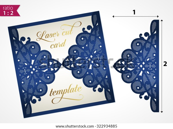 Die cut wedding invitation card template. Paper cut out card with lace. Laser cut pattern. Beautiful laser cut invitation card for wedding. Paper cutouts. Wedding invitation template. Paper cutting.