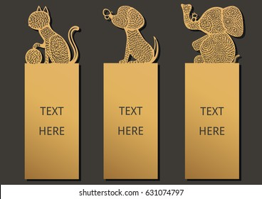 Die and laser cut with Animals set of ornate cards. Template frame for greeting card invitation, bookmark and label with space for your text. Vector illustration design.