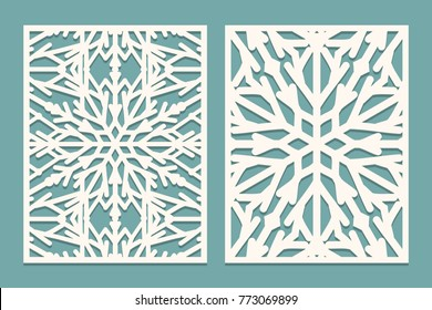 Die and laser cut decorated panels with snowflakes pattern. Laser cutting decorative lace borders patterns. Set of Wedding Invitation or greeting card templates. Vector illustration