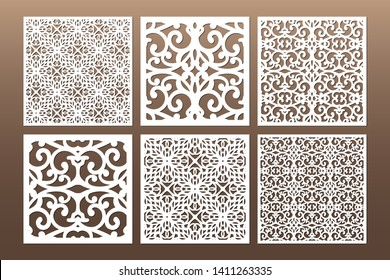 Die and laser cut decorative ornamental borders patterns. Set of bookmarks templates. Cabinet fretwork panel. Lasercut metal screen. Wood carving. Vector.