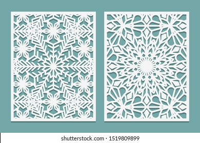 Die and laser cut decorative panels with snowflakes pattern. Laser cutting lace borders. Set of Wedding Invitation or greeting card templates. Vector illustration