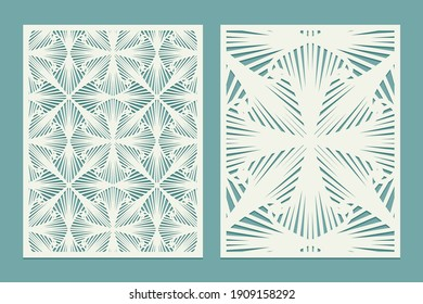 Die and laser cut decorative wall panels. Screen panels with cell pattern. Laser cutting decorative mesh borders patterns. Set of Wedding Invitation or greeting card templates. Vector illustration