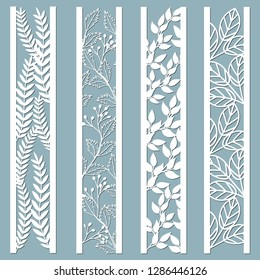 Die and laser cut ornamental panels with floral pattern. leaves, berries, fern. Laser cut decorative lace borders patterns. Set of bookmarks templates. Sticker set. Pattern for the laser cut