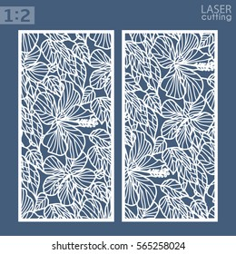 Die and laser cut ornamental panels with floral pattern. Hibiscus flowers and leaves ornament. Cabinet fretwork metal panels, wood carving.