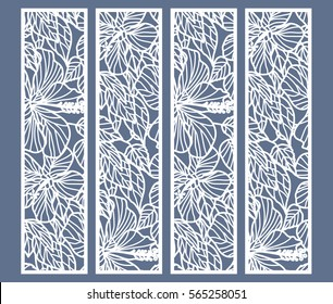 Die and laser cut ornamental panels with floral pattern. Hibiscus flowers and leaves. Laser cut decorative lace borders patterns. Set of bookmarks templates.