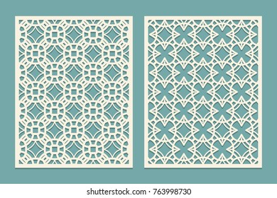 Die laser cut panel design with geometric shapes figures. Template for cutting paper, wood, plastic in oriental style. Vector illustration.