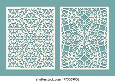 Die and laser cut scenical panels with snowflakes pattern. Laser cutting decorative lace borders patterns. Set of Wedding Invitation or greeting card templates. Vector illustration