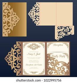 Die laser cut wedding card vector template. Tri fold pocket envelope.Wedding lace invitation mockup.
