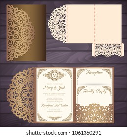 Die laser cut wedding card vector template. Tri fold pocket envelope.Wedding lace invitation mockup.