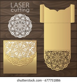Die laser cut wedding card vector template. Invitation envelope. Wedding lace invitation mockup. Template for laser cutting. Die cut pocket envelope template. It can be used as an envelope for CD-ROM.