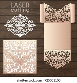Die laser cut wedding card vector template. Invitation envelope. Wedding lace invitation mockup. Template for laser cutting. Die cut pocket envelope template.