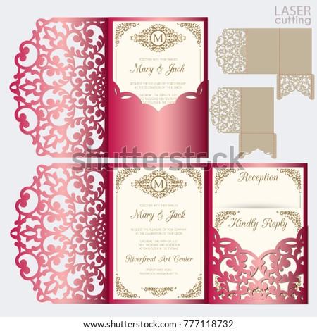 die laser cut wedding card vector のベクター画像素材 ロイヤリティ
