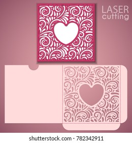 Die laser cut wedding envelope template with heart-shaped frame. Wedding lace invitation mockup. Template for cutting. Die cut pocket envelope template.