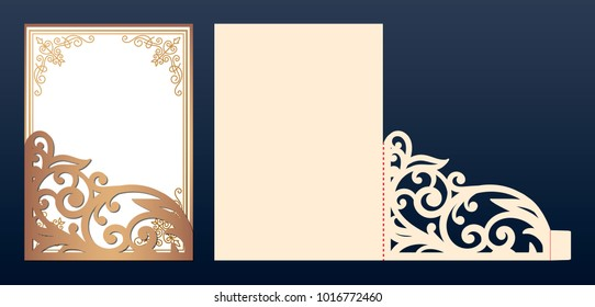 Die laser cut wedding invitation card template vector. Wedding invitation or greeting envelope with abstract ornament. Open card. Suitable for greeting cards, invitations, menus.