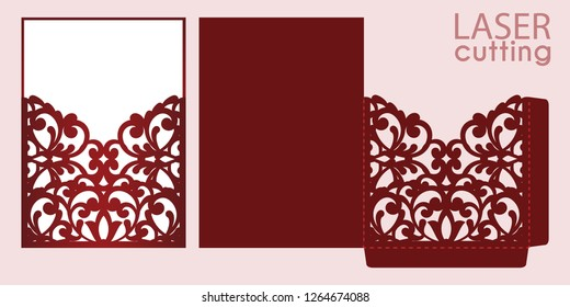 Die laser cut wedding invitation card template vector. Wedding pocket envelope or greeting card with abstract ornament. Open card. Suitable for greeting cards, invitations, menus.