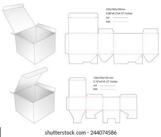 Die paper boxes templates with stamp
