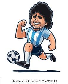 Diego Maradona plays Argentina soccer cartoon