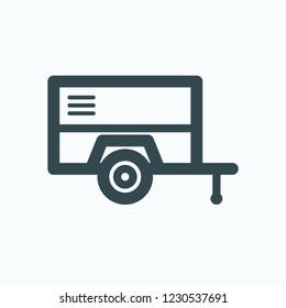 Diesel air compressor icon, diesel portable screw compressor vector icon