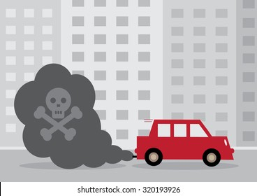 A diesel car's toxic exhaust fumes containing a skull and cross bones.
