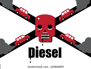 A diesel cars toxic exhaust fumes forming a skull and cross bones, symbolizing the dangers of the fuel.