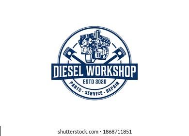 Diesel engine logo vector. workshop automotive transportation engine piston element.