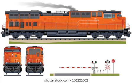 Diesel Locomotive  (Train #6). Elements (smoke, ground, signs, locomotive views) are in the separate layers.