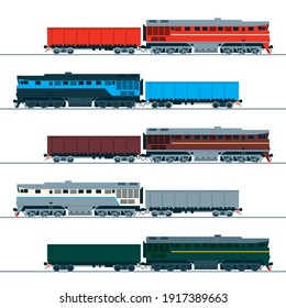Diesel locomotive and wagon. Set of vector images. Side view.