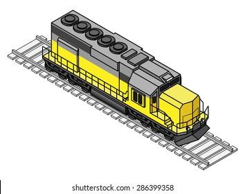 A diesel rail train engine / locomotive.
