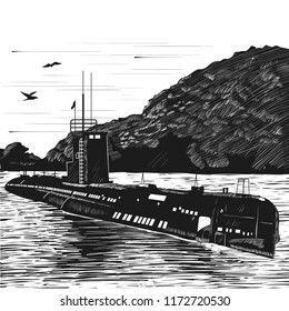 Diesel submarine of post-war construction. Russian nuclear submarine boat. Engraving retro style. Black and white vector illustration.