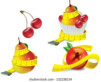 Diet concept. Fruits measuring tape