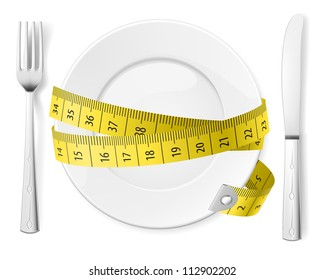 Diet concept. Plate with knife, fork and measure tape