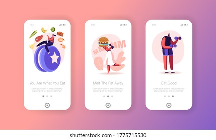 Diet Disruption Mobile App Page Onboard Screen Template. Tiny Girl Carry Huge Burger, Yo-Yo Effect, Sport Workout. Characters Eating Fast Food, No Diet Concept. Cartoon People Vector Illustration