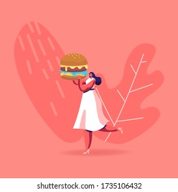 Diet Failure, Disruption Concept. Tiny Female Character Carry Huge Burger. Woman Eating Fast Food Enjoying Outdoor Street Party, City Fest, Fastfood Festival, No Diet. Cartoon Vector Illustration
