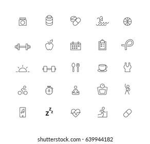 Diet and fitness icons set,Vector