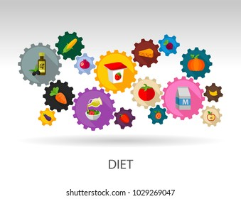 Diet flat icon concept. Vector illustration. Element template for design.