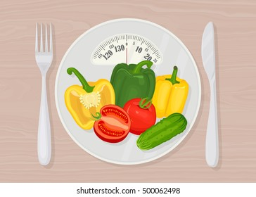 Diet food. Dieting and nutrition. Scales with tomatoes, peppers, cucumbers and fork, knife on wood background. Weight loss. Slimming. Healthcare. Vector illustration. Flat style