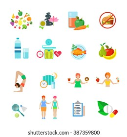 Diet healthy nutrition lifestyle web flat vector icon set. Fast food fresh pure juice water spa fruit vegetable raw fish supplementary dietary supplement pill sleep regime schedule weight loss woman