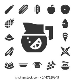 diet icon set. 17 filled diet icons.  Collection Of - Courgette, Pineapple, Watermelon, Lemonade, Pea, Cupcake, Clam, Calcium, Bitterballen, Hot dog, Bowl, Noodles, Apple, Grapes